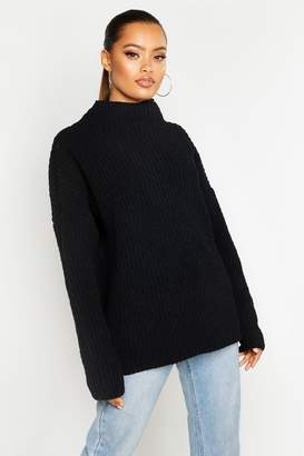 boohoo Chenille Knit Funnel Neck Jumper