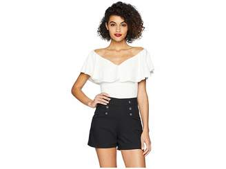 Unique Vintage Off Shoulder Ruffle Frenchie Knit Top