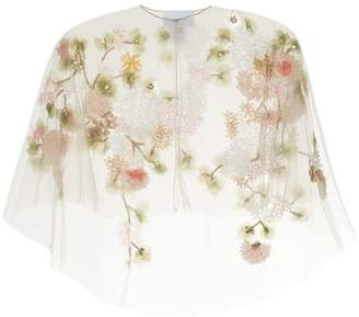 Marchesa tulle capelet with 3d flowers