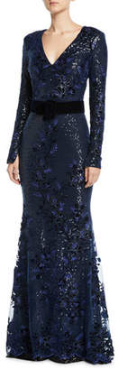 Badgley Mischka Sequin Long-Sleeve Gown w/ Velvet Band