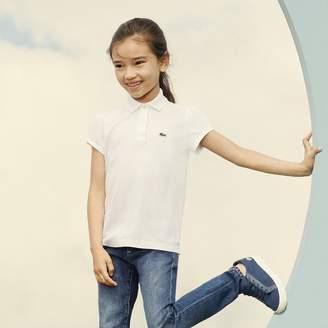 Lacoste Girls' Scalloped Collar Mini Pique Polo Shirt