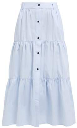 Solid & Striped Banded Cotton Poplin Midi Skirt - Womens - Light Blue