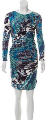 Emilio Pucci Abstract Print Ruched Dress Green Abstract Print Ruched Dress