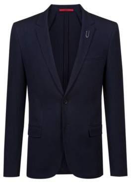 HUGO Boss Extra-slim-fit jacket paper-clip-inspired pin 38R Dark Blue