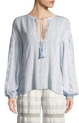 Jonathan Simkhai Embroidered Peasant Blouse