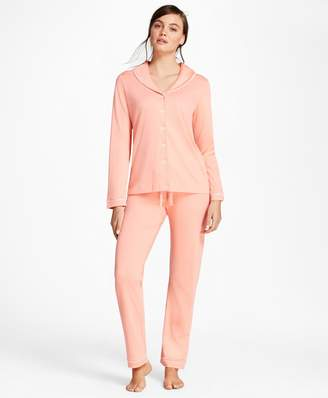 Brooks Brothers Shawl-Collar Pima Cotton Interlock Jersey Pajama Set