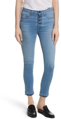 Veronica Beard Debbie High Waist Fray Hem Jeans