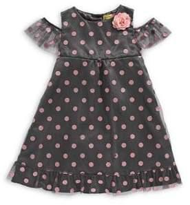 Penelope Mack Little Girl's Glitter Dot Ruffle Sleeve A-Line Dress