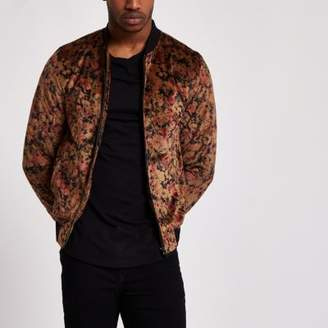 River Island Mens Black and gold floral velvet bomber jacket