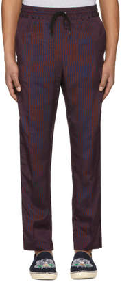 Kenzo Burgundy and Navy Jacquard Stripe Trousers