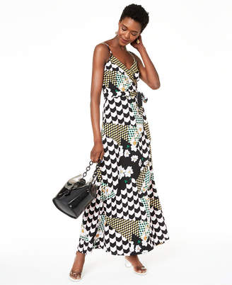 Bar III Mixed-Print Faux-Wrap Dress