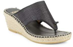 Andre Assous Addie Woven Leather Espadrille Wedge Sandals $169 thestylecure.com