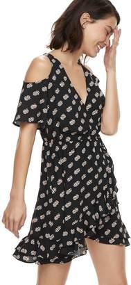 K Lab k/lab Ruffled Polka-Dot Cold-Shoulder Mini Dress