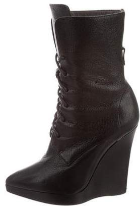 Reed Krakoff Leather Pointed-Toe Wedge Ankle Boots