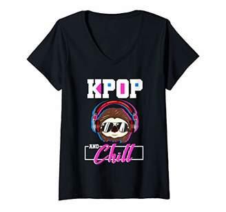 Womens Kpop Funny Sloth DJ Korean Pop Music Gift V-Neck T-Shirt