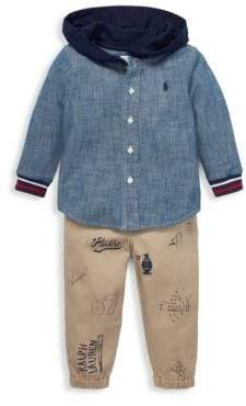 Ralph Lauren Baby Boy's Two-Piece Chambray Hoodie& Twill Joggers Set