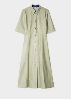 Women's Pastel Green Leather Shirt Dress