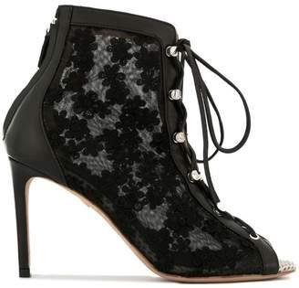 Giambattista Valli lace detail open-toe boots