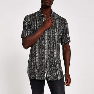 River Island Black aztec short sleeve shirt