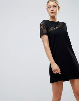 Asos DESIGN lace insert shift dress
