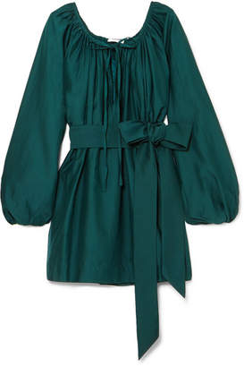 Kalita - Pegasus Cotton And Silk-blend Mini Dress - Emerald