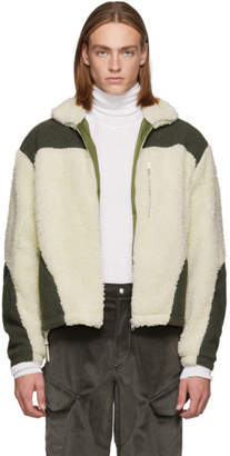 Off-White GmbH Green and Teddy Fleece Kol Zip-Up Sweater
