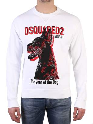 DSQUARED2 White Front Printed Sweatshirt