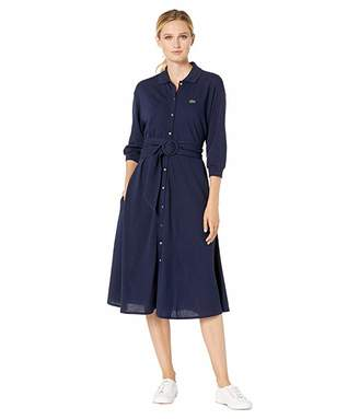 Lacoste Long Sleeve Belted Supple Pique Belted Shirtdress