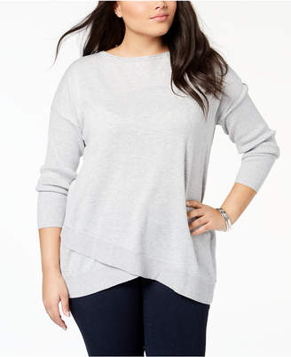 Style&Co. Style & Co Plus Size Asymmetrical-Hem Tunic Sweater, Created for Macy's