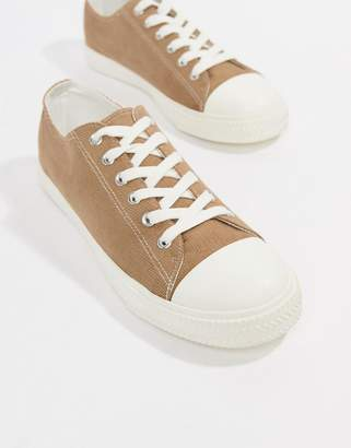 Asos DESIGN lace up plimsolls in stone cord