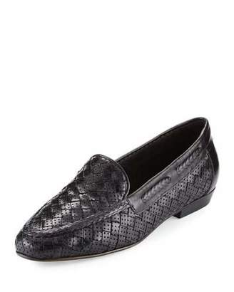 Sesto Meucci Nellie Perforated Woven Flat Loafer, Black $255 thestylecure.com