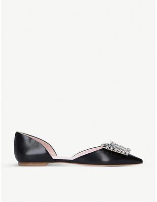 Roger Vivier Dorsay crystal embellished-buckle leather flats