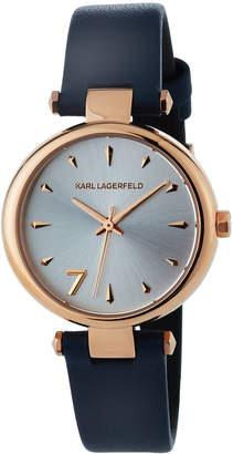 Karl Lagerfeld 34mm Aurelie Leather Watch, Rose/Navy