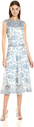 Betsy & Adam Women's Short Lace Tea Fit and Flare, Blue/White