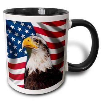 3dRose American Flag USA Bald Eagle Patriotism Patriotic Stars Stripes - Two Tone Black Mug, 11-ounce