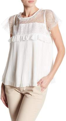 Romeo & Juliet Couture Crochet Pleated Short Sleeve Blouse