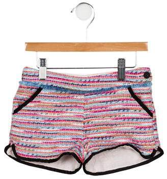 Karl Lagerfeld Girls' Tweed Fringe-Trimmed Shorts