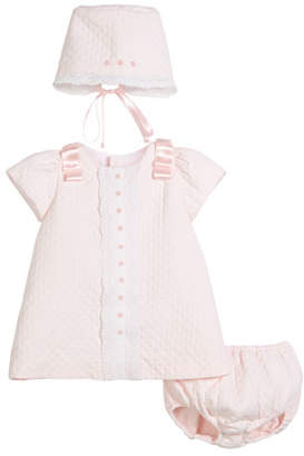 Luli & Me Pique Lace-Trim Dress w/ Bonnet & Bloomers, Size 3-24 Months