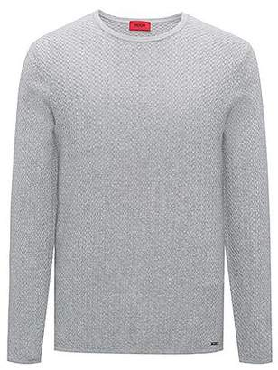 HUGO BOSS Slim-fit sweater in herringbone cotton jacquard