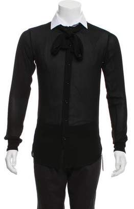 Saint Laurent 2016 Tie Neck Sheer Dress Shirt w/ Tags