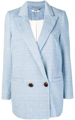 Ganni tartan patterned two-button blazer