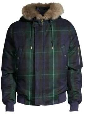 Paul Smith Tartan Wool & Cashmere Fur-Trimmed Parka