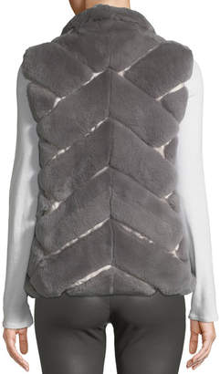 Pologeorgis Chevron-Quilted Reversible Nylon & Fur Puffer Vest