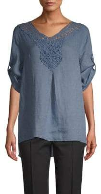 Saks Fifth Avenue Embroidered Linen Tunic