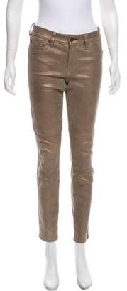 Rag & Bone Leather Mid-Rise Skinny Pants