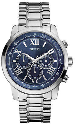 GUESS Mens Chronograph Silver Tone Watch 45mm W0379G3