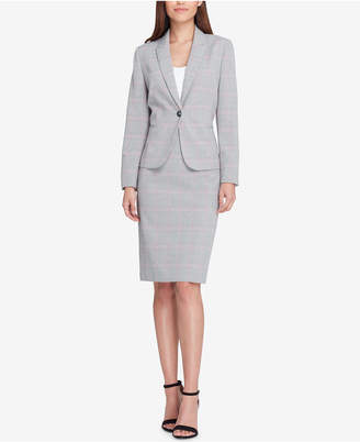 Tahari ASL Plaid One-Button Skirt Suit