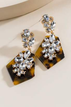 francesca's Mila Tortoise Statement Earrings - Amber