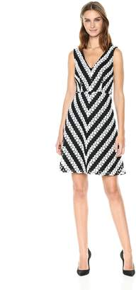 Adrianna Papell Women's Striped Fit and Flare Lace, Black/Ivory