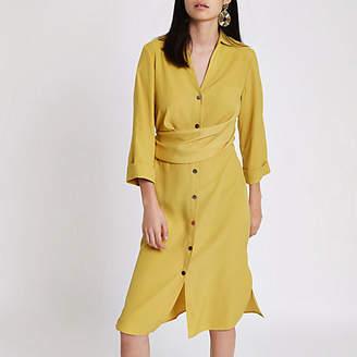 River Island Dark yellow twist front midi shirt dress
